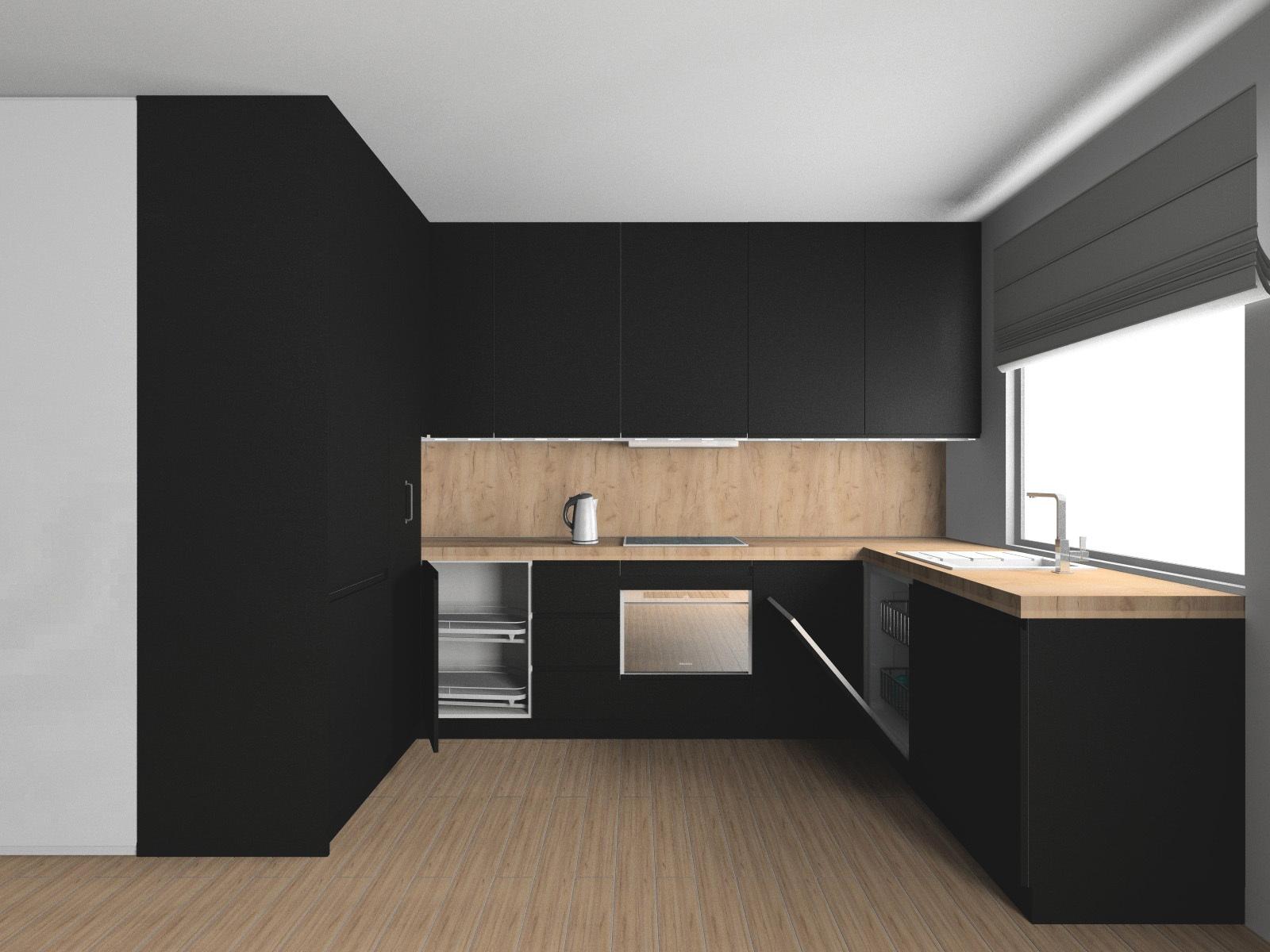 Czarna kuchnia w macie. Szybki projekt kuchni w programie KD Max V6